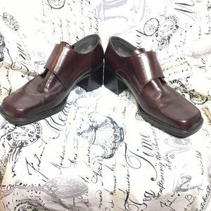 Chocolate Brown Block Heeled Squared Toe Loafers 8